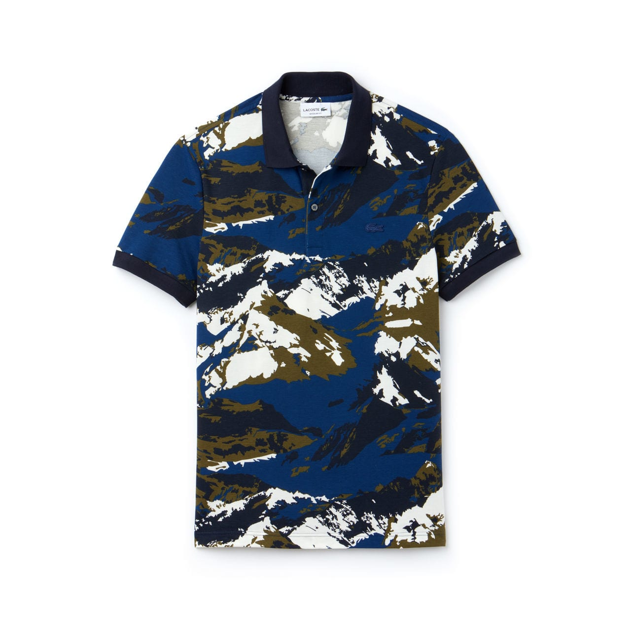 Lacoste Hommes Regular Fit Mountain Print Mini Piqué Polo – INKWELL/MULTICO